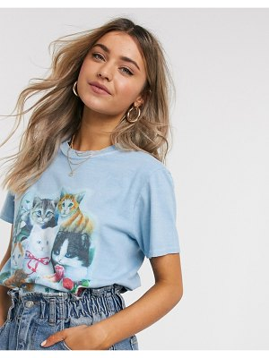 Reclaimed Vintage inspired t-shirt with kitten print in washed blue