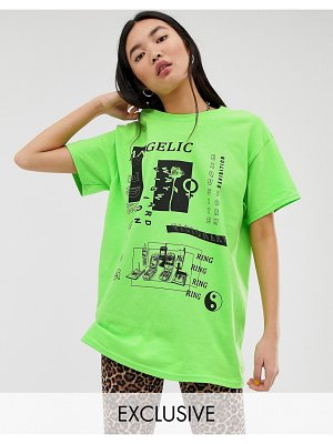 Reclaimed Vintage inspired t-shirt with photographic mixed print-green