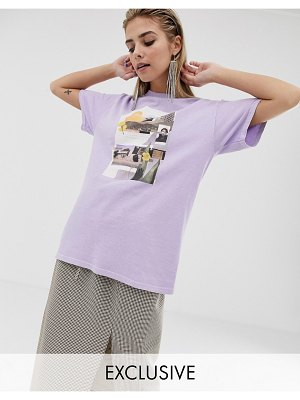 Reclaimed Vintage inspired t-shirt with photographic print-purple