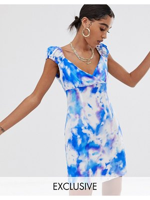 Reclaimed Vintage inspired tea wrap front dress in tie dye print-multi