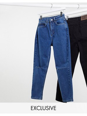 Reclaimed Vintage inspired the 91' mom jean with knee rip in dark stone wash-blue