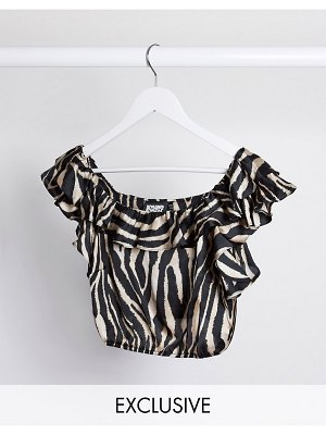 Reclaimed Vintage inspired top with ruffle in animal print-multi
