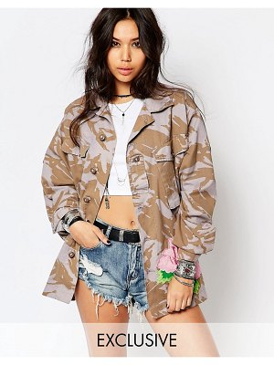 Reclaimed Vintage Oversized Military Jacket In Camo With Large Rose Embroiderey