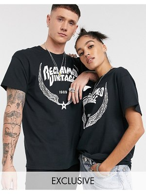 Reclaimed Vintage unisex oversized t-shirt with wings logo print-black