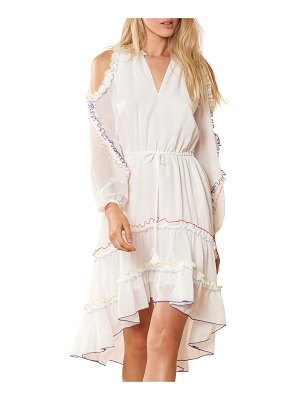 Red Carter Lucy Cold-Shoulder Ruffle Coverup Dress