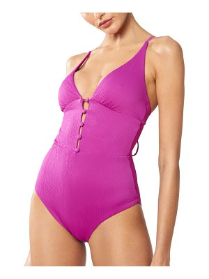 Red Carter plunging one-piece swimsuit