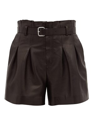 Red Valentino belted high rise leather shorts