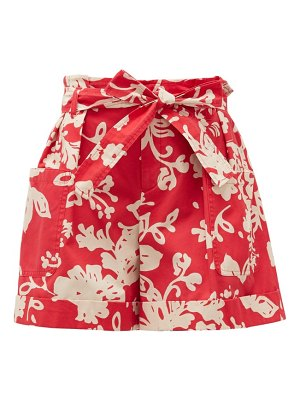 Red Valentino belted paperbag-waist floral-print cotton shorts