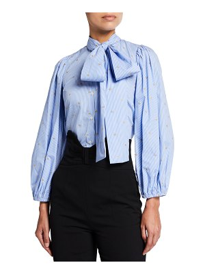 Red Valentino Bow-Neck Blouson-Sleeve Striped Blouse