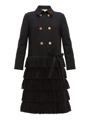 Red Valentino bow trim fringed wool blend coat