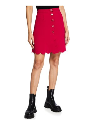 Red Valentino Button-Front Scalloped Skirt