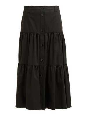 Red Valentino buttoned tiered cotton midi skirt