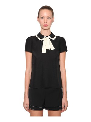 Red Valentino Contrasting bow silk crepe top