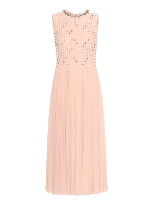 Red Valentino crystal-embellished pleated dress