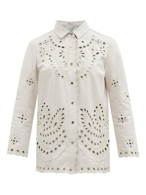Red Valentino cutout embroidered leather shirt