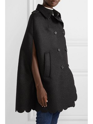 Red Valentino double-breasted scalloped wool-blend bouclé cape