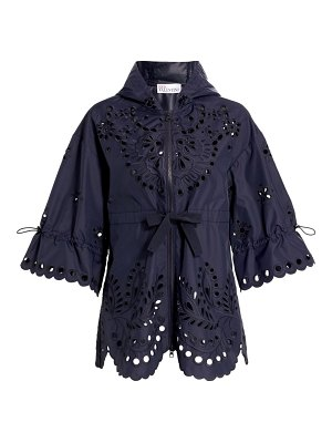 Red Valentino embroidered eyelet nylon canvas hooded pea coat