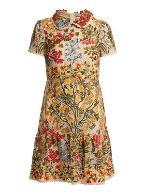 Red Valentino Embroidered floral-mesh ruffle hem dress