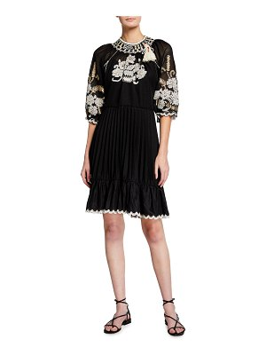 Red Valentino Embroidered Flounce Dress