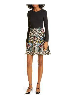 Red Valentino floral embroidered long sleeve minidress