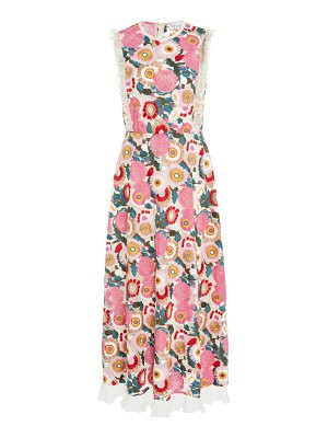 Red Valentino floral-embroidered tulle midi dress