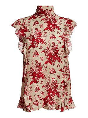 Red Valentino floral mock neck silk blouse