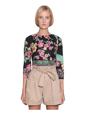 Red Valentino Floral open back poplin crop top