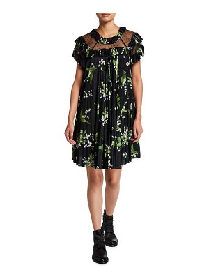 Red Valentino Floral Print Dress with Point D'Esprit Insets