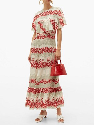Red Valentino floral print silk crepe de chine dress