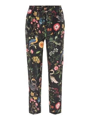 Red Valentino Floral-printed silk pants