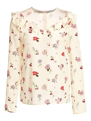 Red Valentino floral ruffle trim blouse