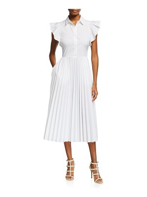 Red Valentino Flutter-Sleeve Pleated Midi Shirtdress