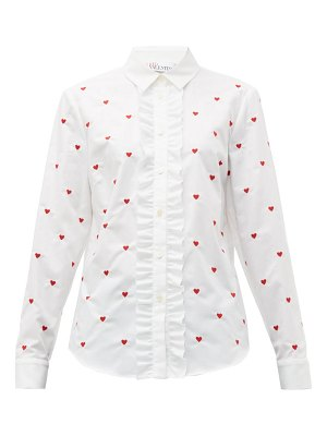 Red Valentino heart embroidered cotton oxford shirt