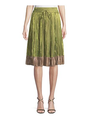 Red Valentino Iridescent Pleated A-Line Skirt