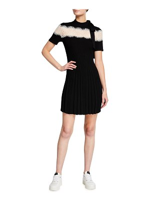 Red Valentino Lace Inset Pleated Mini Dress with Bow