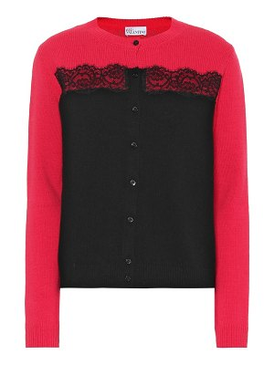 Red Valentino lace-trimmed virgin wool cardigan