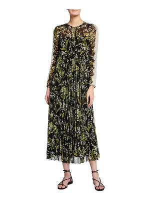 Red Valentino Long Floral Print Pleated Dress