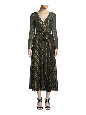 Red Valentino Long-Sleeve Metallic Fil Coupe Wrap Dress