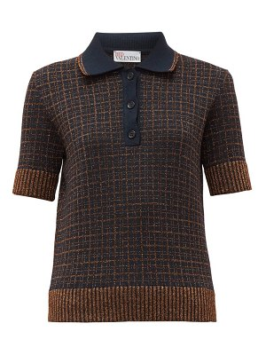 Red Valentino lurex check knitted polo shirt