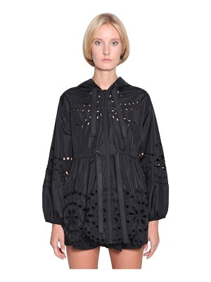 Red Valentino Nylon eyelet lace parka jacket