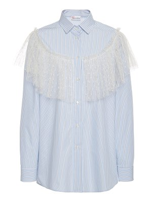 Red Valentino point d'esprit embellished button down