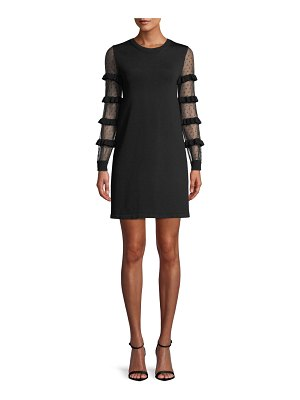 Red Valentino Point D'esprit & Ruffle Long-Sleeve A-Line Knit Mini Cocktail Dress
