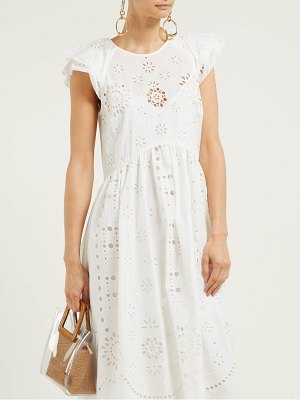 Red Valentino cap sleeve broderie anglaise cotton midi dress