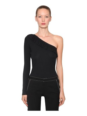 Red Valentino Ribbed one shoulder cotton t-shirt