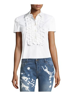 Red Valentino Ruffle-Front Cotton Blouse