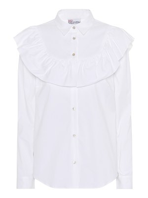 Red Valentino ruffle-trimmed cotton-blend blouse