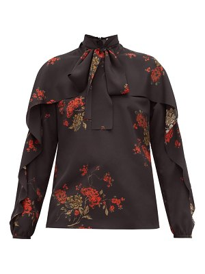 Red Valentino ruffled floral print pussy bow crepe blouse