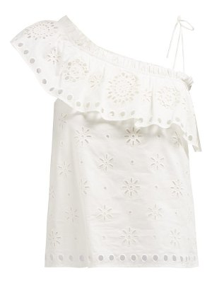 Red Valentino ruffled one shoulder stretch cotton top