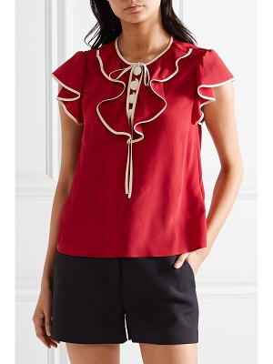 Red Valentino ruffled silk crepe de chine blouse