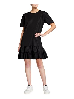 Red Valentino Short-Sleeve Jersey Dress with Ruffles